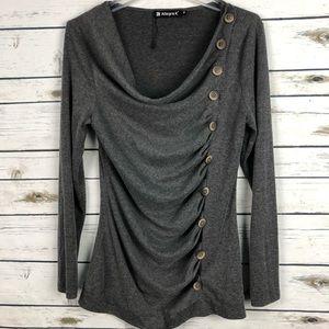 NWOT Allegra K medium gray button accents shirt